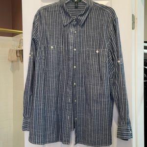 3x Ralph Lauren long sleeve blue and white shirt.